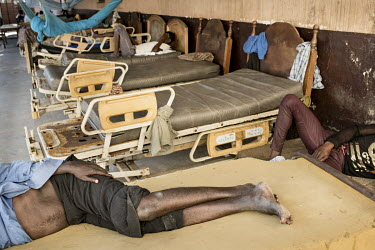 Patients in a decrepit ward at the Accra Psychiatric Hospital. The facility has four psychiatrists. In 2018 they saw 27,000 patients and admitted 819. They have 19 wards, seven female, 11 male and one...