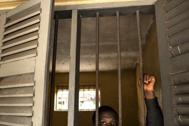 A patient in a barred room at the Accra Psychiatric Hospital. The facility has four psychiatrists. In 2018 they saw 27,000 patients and admitted 819. They have 19 wards, seven female, 11 male and one...
