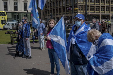 Pro-Scottish independence demonstrators gather in George Square.
