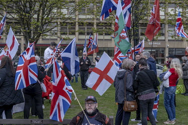 Pro-Union demonstrators take part in a counter demonstration in George Square as supporters of Scottish independence gathered at the other end of the square.