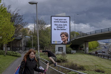 A Scottish National Party (SNP) electronic billboard displays a picture of its leader Nicola Sturgeon.