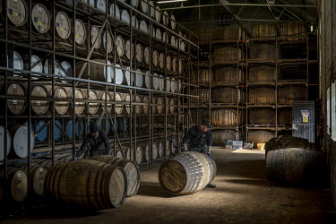 Workers unload casks of whiskey at the Highland Park distillery on the outskirts of Kirkwall. 46,000 casks of whiskey are stored in 23 warehouses for periods of up to 50 years. It is the northernmost...