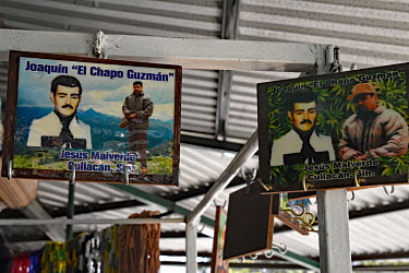 A stall selling drug cartel related souvenirs including some celebrating Joaquin 'El Chapo' Guzman.