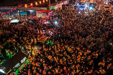 A great crowd gathers as the palanquin in which the goddess Mazu deity is carried on a 200km pilgrimage sets off at midnight from the 200 year old Taoist (Daoism) Gongtian Temple. The pilgrimage route...