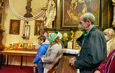Devotees praying during Orthodox Holy Saturday at St. Ann's Church.
