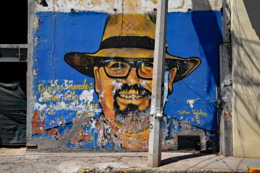 A wall mural of journalist Javier Valdez who was murdered in 2017.