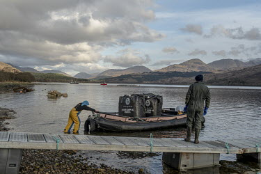 Mussel farmers from Fassfern Mussels prepare to lay rope in Loch Eil, a seawater loch that houses one of their farms. The UK's shellfish industry has been thrown into chaos post-Brexit as only shellfi...