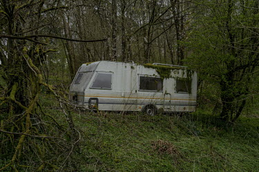 An abandoned caravan on the border between England and Scotland.